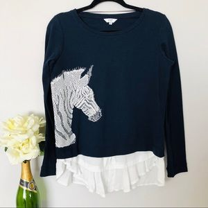 Crown & Ivy | Embroidered Zebra Sweater